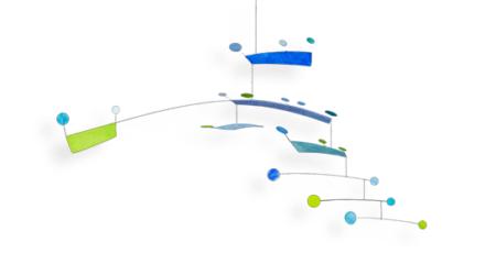 Mobilé Fly (grün, blau, türkis) Dekoration für große Räume und Treppenhäuser, für Erwachsene