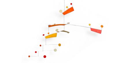 Mobilé Fly (rot, orange) - Dekoration für große Räume und Treppenhäuser, Schöne Mobilés für Erwachsene