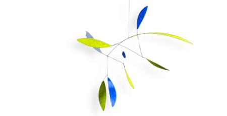 Mobilé Green Leaf (grün, blau) - Raumobjekt für Erwachsene, Dekoration für große Räume