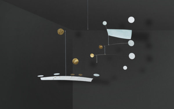 Mobilé Anni - mit Blattvergoldung, Papierkunst aus Japanpapier und Draht