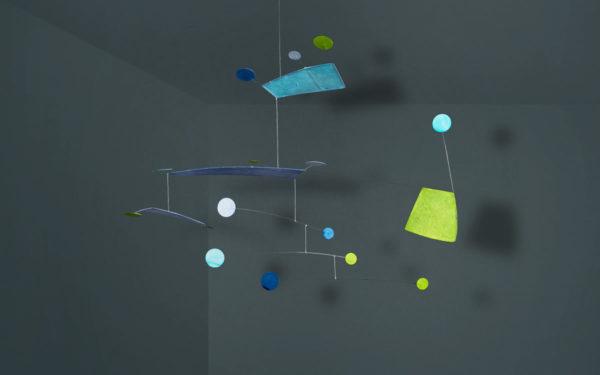 Windspiel aus Papier, Mobilé Shiso für Erwachsene, blau, grün, türkis