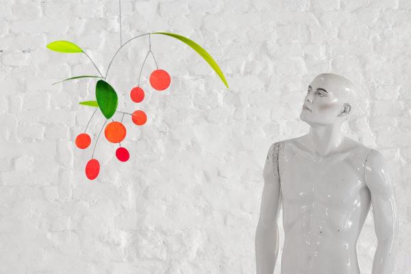Mobilé Cerezas - Blatt-Mobilé mit Kirschen, Mobilé aus Papier, grüne und rote Elemente