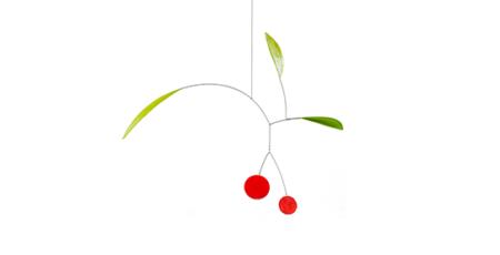 Mobilé Cerezas Klein - Kleines Blatt-Mobilé mit Kirschen, filigranes Mobilé aus Papier, grüne und rote Elemente