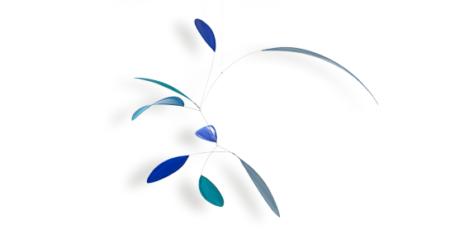 Mobilé Little Leaf in blau und hellblau, handgefertigtes Mobilé, Blattformen