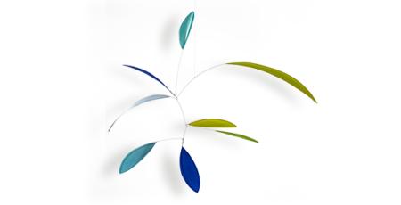 Mobilé Little Leaf in blau, türkis und grün, handgefertigtes Mobilé, Blattformen