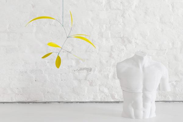 Mobilé Little Leaf in Zitronengelb, Windspiel, Mobilé aus Papier, Mobilé für Erwachsene in Zitronengelb