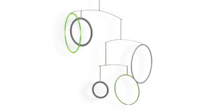 Mobilé Vicos - Farbiges Mobilé in weiß und grün. Modernes Mobilé für Erwachsene