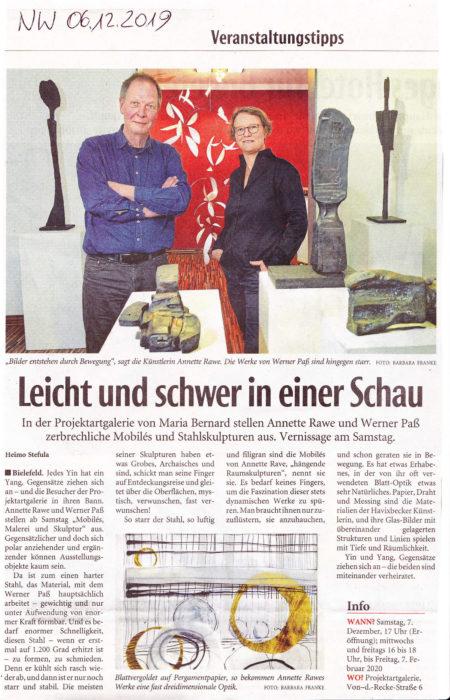 """""""Leicht und schwer in einer Schau"""" –Pojektartgalerie –Zeitungsartikel Neue Westfälische 06.12.2019"""